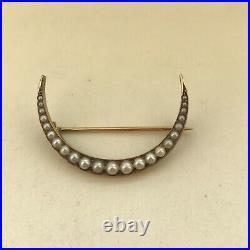Antique Victorian 14k Gold Pearl Crescent Moon Pin Brooch