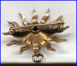 Antique Victorian 14k Gold Seed Pearl Diamond Sunburst Vtg Pin Brooch Pendant