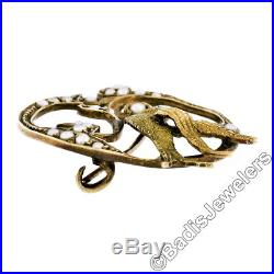 Antique Victorian 14k Gold Seed Pearl Textured Bird on Branch Wreath Pin Brooch