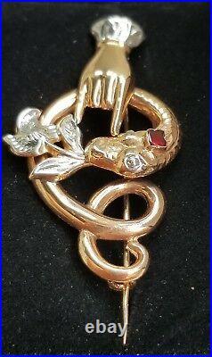 Antique Victorian 14k Gold Snake Figa Garnet Brooch Pin-Estate Jewelry 4.2 gm