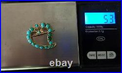 Antique Victorian 14k Gold Turquoise Diamond Witch's Witches Heart Brooch Pin