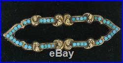 Antique Victorian 14k Rose Gold Arabesque Cartouche Persian Turquoise Brooch Pin