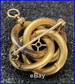Antique Victorian 14k Yellow Gold Enamel Flower & Seed Pearl Brooch Pin Pendant
