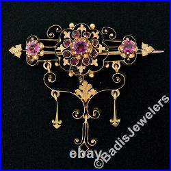Antique Victorian 14k Yellow Gold Old Mine Cut Amethyst Open Pin Brooch Pendant