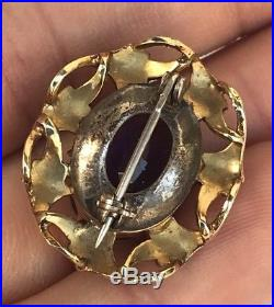 Antique Victorian 14k Yellow Gold Sterling Silver Amethyst Seed Pearl Brooch Pin