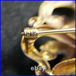 Antique Victorian 14kt Pin Brooch Pendant Solitary Diamond Blue/white Enamel