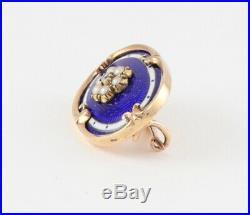 Antique Victorian 15Ct Gold, Diamond, Blue Guilloche Enamel Small Brooch / Pin