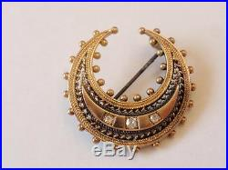 Antique Victorian 15ct. Gold & Diamond Crescent Brooch/pin C. 1890