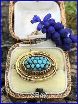 Antique Victorian 15ct Yellow Gold Etruscan Turquoise Pave Brooch Pin