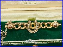 Antique Victorian 15ct Yellow Gold Quality Seed Pearl Horseshoe Bar Brooch Pin