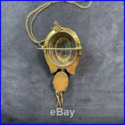 Antique Victorian 15k Gold Pearl Mourning Brooch Pin Pendant Enamel Painting