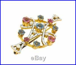 Antique Victorian 15k Gold White Enamel Aquamarine Tourmaline Pearl Brooch Pin
