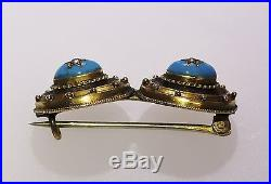 Antique Victorian 16K Yellow Gold Double Turquoise Seed Pearl Star Brooch Pin