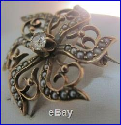 Antique Victorian. 17ct Diamond Seed Pearl 10K Gold Brooch Pin / Pendant