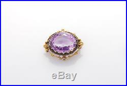 Antique Victorian 1800s 12ct Natural Amethyst 14k Gold Etruscan Pin Brooch