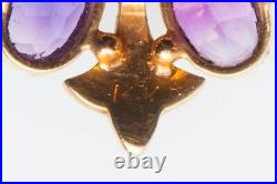 Antique Victorian 1800s 6ct Natural Amethyst Pearl 14k Yellow Gold Brooch Pin