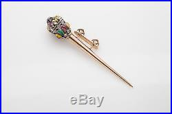Antique Victorian 1800s 7ct Ruby Sapphire Emerald HAIR PIN 14k Gold BROOCH