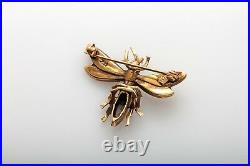 Antique Victorian 1800s CRICKET BUG Natural Pearl 14k Yellow Gold PIN