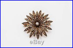 Antique Victorian 1800s Natural Pearl Diamond 14k Gold SUN STAR Pin Brooch