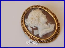 Antique Victorian 18ct. Gold Cameo Brooch/pin Roman Goddess Diana