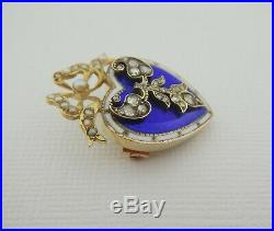 Antique Victorian 18ct Gold Diamond & Blue Guilloche Enamel Brooch Pin