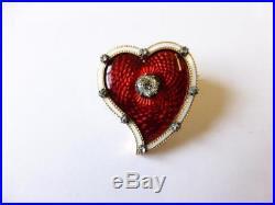 Antique Victorian 18ct. Gold Diamond & Enamel Heart Brooch/pin C. 1890