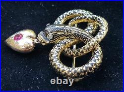 Antique Victorian 18k Gold Enamel Snake Serpent Heart Mourning Brooch Pin 8.5gm