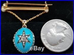 Antique Victorian 18k Gold Rose Cut Diamond Pearl Enamel Bar Pin Brooch STUNNING