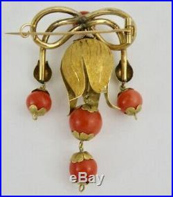 Antique Victorian 18k Gold Salmon Coral Floral Vine Brooch Pin