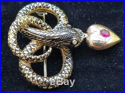 Antique Victorian 18k Yellow Gold Enamel Snake Serpent Mourning Brooch Pin