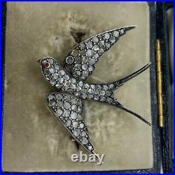 Antique Victorian 18k gold silver old rose cut diamond ruby swallow pin brooch