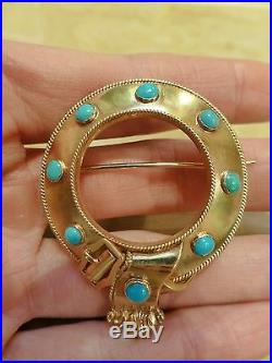 Antique Victorian 18k yellow gold turquoise brooch pin round circle belt buckle