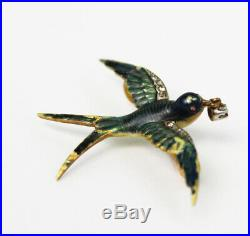 Antique Victorian 22K Solid Gold Flying Swallow Bird Brooch Pin Diamond in Beak