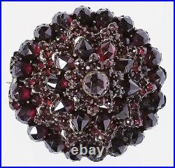 Antique Victorian 5 Tier Bohemian Rose Cut Garnet Gold Filled Pin Brooch 1 1/4