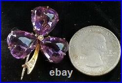 Antique Victorian 9 Carat Gold Amethyst & Seed Pearl Trefoil Brooch Pin c1900