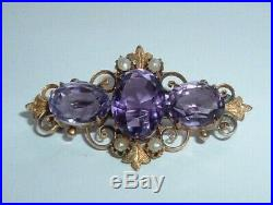 Antique Victorian 9ct Gold Amethyst Pearl Brooch Pin