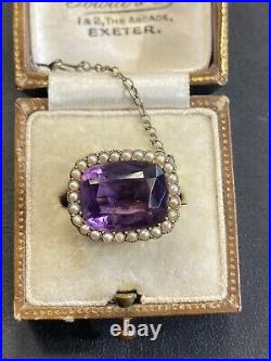 Antique Victorian 9ct Gold Amethyst Seed Pearl Lace pin Brooch Not Scrap