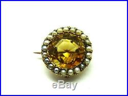 Antique Victorian 9ct Gold Citrine & Seed Pearl Brooch Pin c1850. F167F