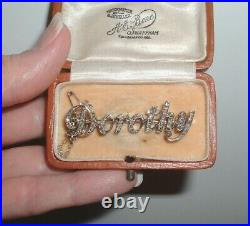 Antique Victorian 9ct Gold Diamond Dorothy Name Brooch Pin in Box