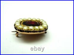 Antique Victorian 9ct Gold Pearl & Quality Foiled Paste Lace Pin Brooch. F207F