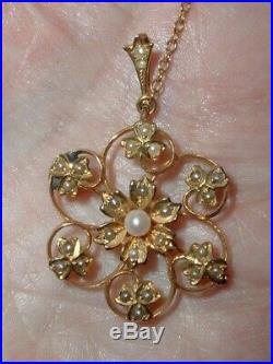 Antique Victorian 9ct Gold Seed Pearl Pendant Brooch Pin
