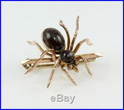 Antique Victorian 9ct Rose Gold Boulder Opal Spider Brooch Pin