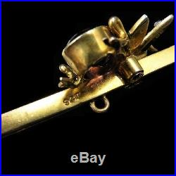 Antique Victorian Amethyst & Pearl 9ct 9k Yellow Gold Insect Bug Bar Brooch Pin