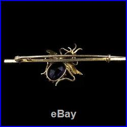 Antique Victorian Amethyst, Red Spinel & Pearl 9ct 9K Gold Insect Bar Brooch Pin