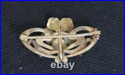 Antique Victorian Art Nouveau Gold Brooch Watch Pin Enamel Flower Pearls