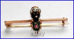 Antique Victorian Blackamoor 14 ct gold enamel ruby pin brooch white turban