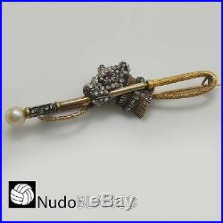 Antique Victorian Brooch Pin Dog With Rose Cut Diamonds 18k Gold Hallmarks