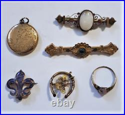 Antique Victorian Collection Lot Gold Filled Pin Brooches Locket Dragon's Breath