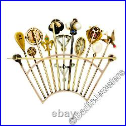 Antique Victorian Custom 14k Gold 11 Stick Pin Gemstone Pearl Tiara Crown Brooch