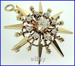 Antique Victorian Diamond & Solid 14k Goldstarburst/star Brooch/pin Or Pendant
